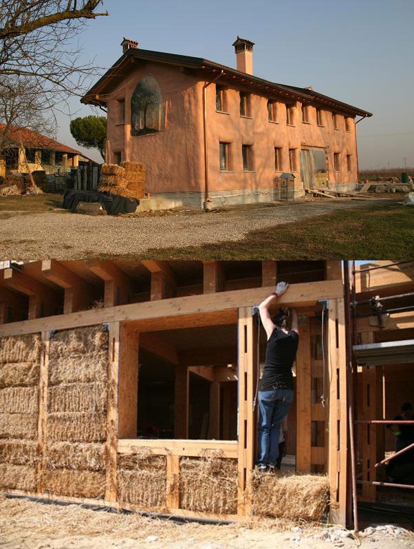 autocostruzione di case in balle di paglia primo piano